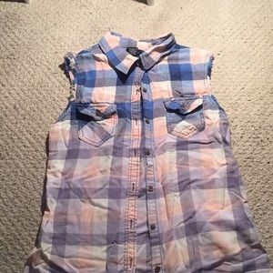 Forever 21 Tops - Orange and blue flannel